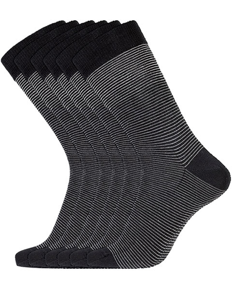 Billede af 3 PAIRS Egtved Cotton Socks Black With Gray Stripes 55444 190