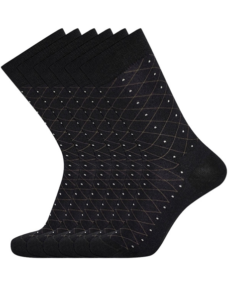 Billede af Egtved 3 Pairs of Luxury Socks, Black with Pattern 57328 194