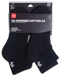 Billede af Under Armour 6-pak Sorte Charged Cotton 2.0 Kvartsokker 1312476 001